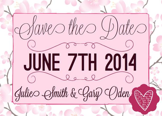 Cherry Blossom Save the Date on Etsy, $10.00