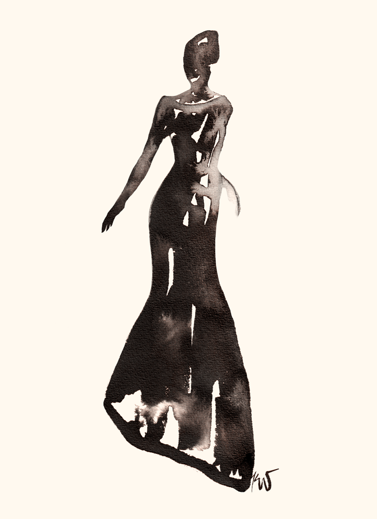 Drawn to Style: The Long Black Dress art by illustration by tanya leigh washington