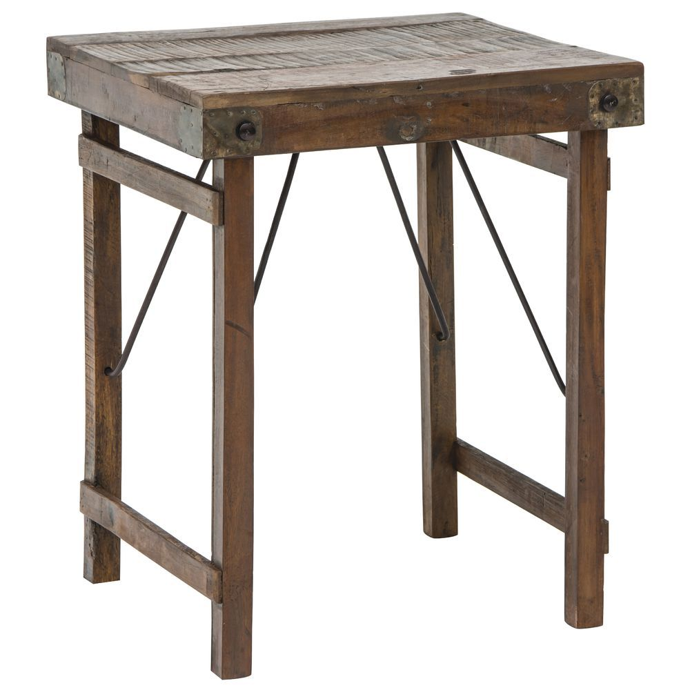 Recycled Wood Short Display Folding Table Wooden Side Table