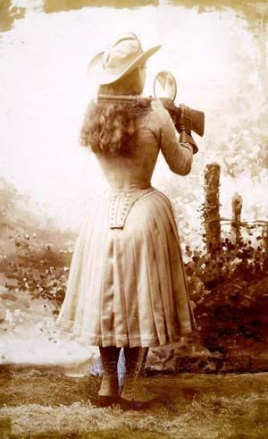 Annie Oakley, perhaps.  She wore spats like this.