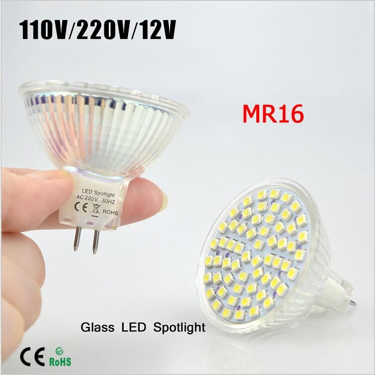 Best Selling Full Watt 6w Mr16 Ac 110v 220v 12v Led Lamp Heat Resistant Glass Body Smd 3528 60 Leds Spotlight Bulb Ceiling Light 1156 Led Bulb T10 Led Bulb From