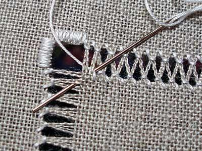 Tirado Linha do bordado: Trabalho Ziguezagues