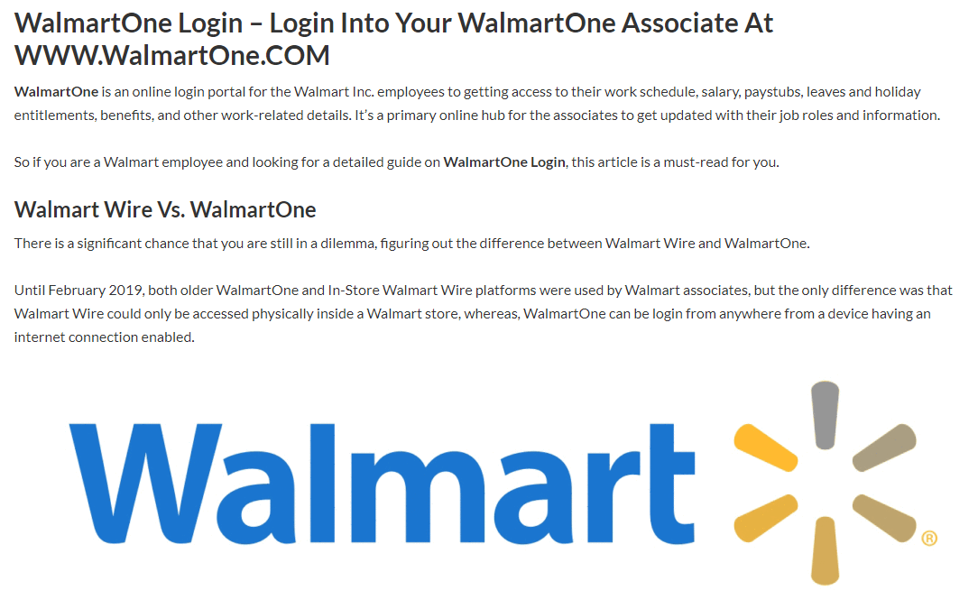 WalmartOne Login in 2020 Online
