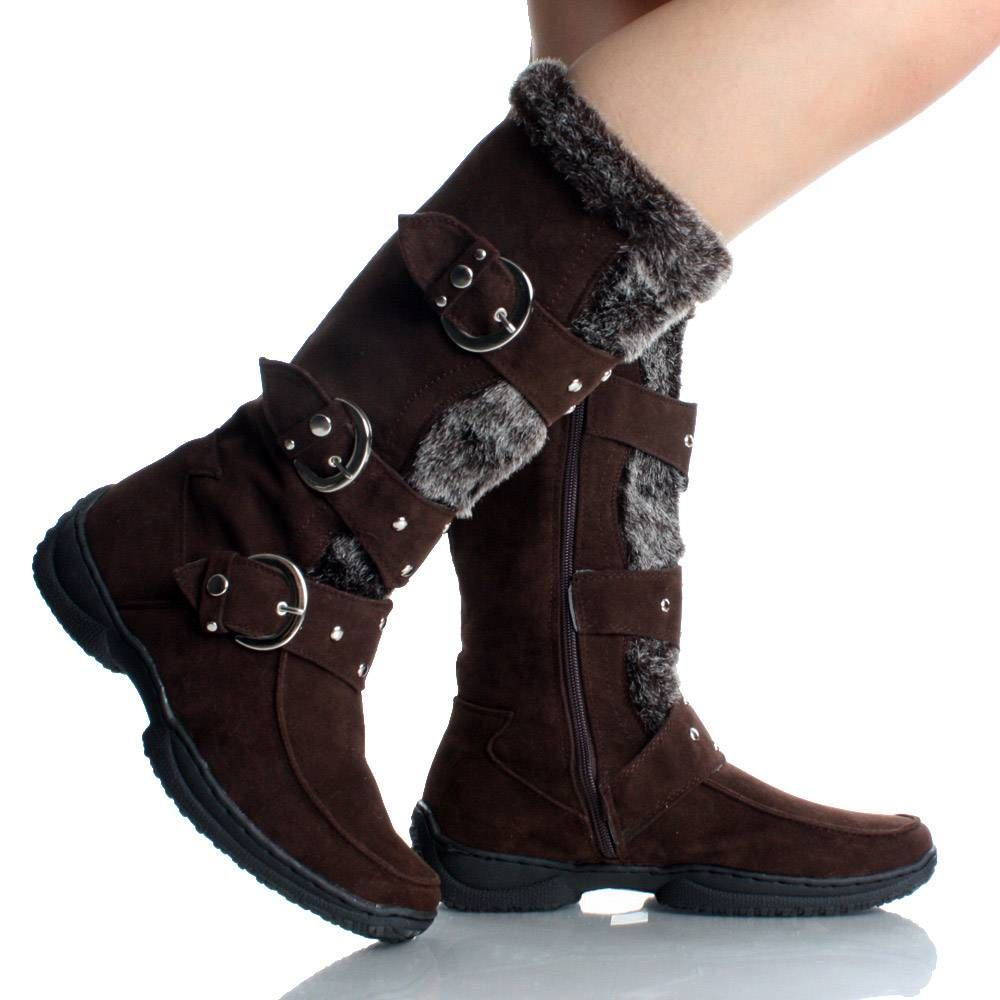 Womens Winter Boots Snow Brown Flat Studded Buckle Cute
