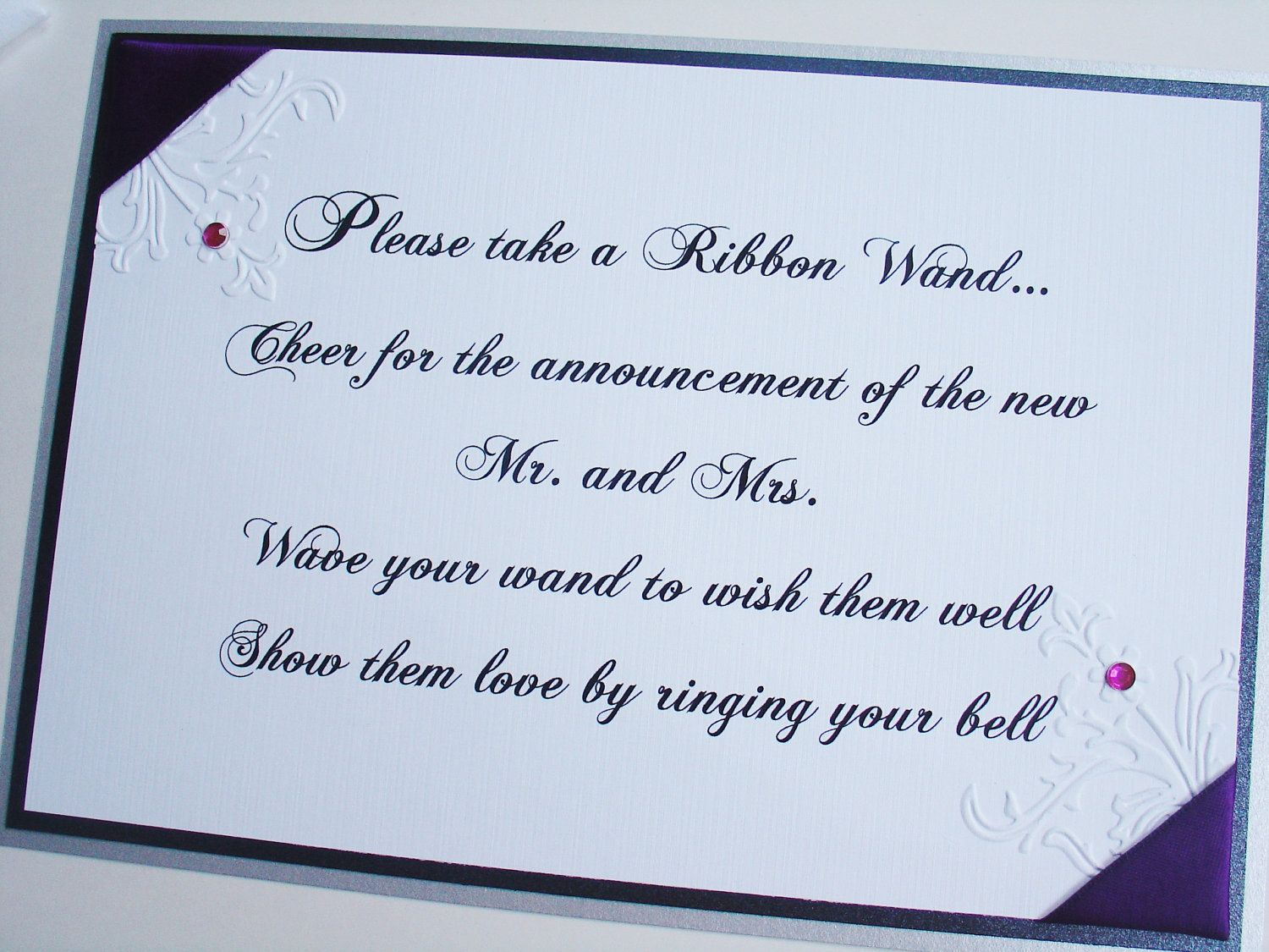 wedding signs ribbon wand sign vintage garden collection floral embossing with crystals
