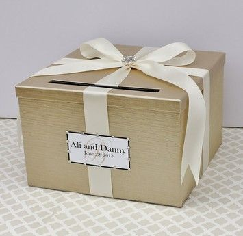 Champagne and Chocolate Brown Card Box / Reception Decoration ...