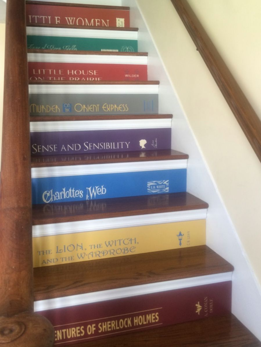 Book stairs book spine stairs book lovers stairs by tributedesigns on etsy