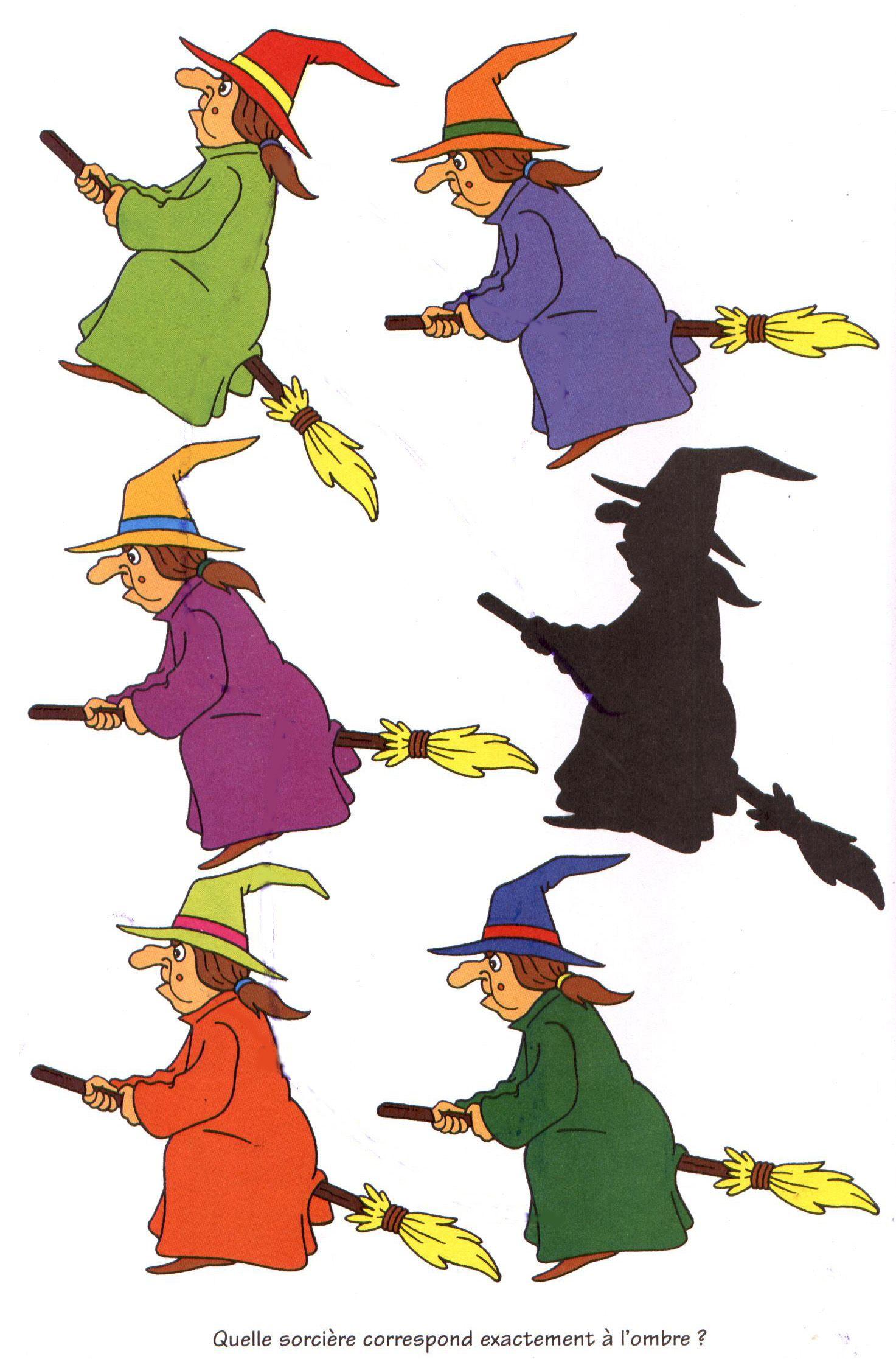 Dessins, jeux et coloriages Halloween : Jeu ombre sorciere Halloween ...