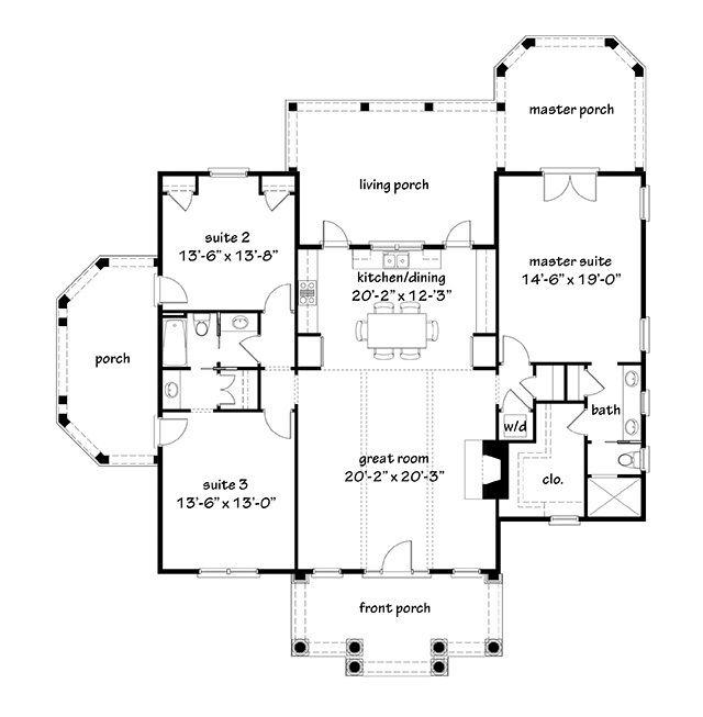 Plan 59320nd Southern Traditional Duplex Home Plan In 2021 Duplex Floor Plans House Plans Duplex Plans