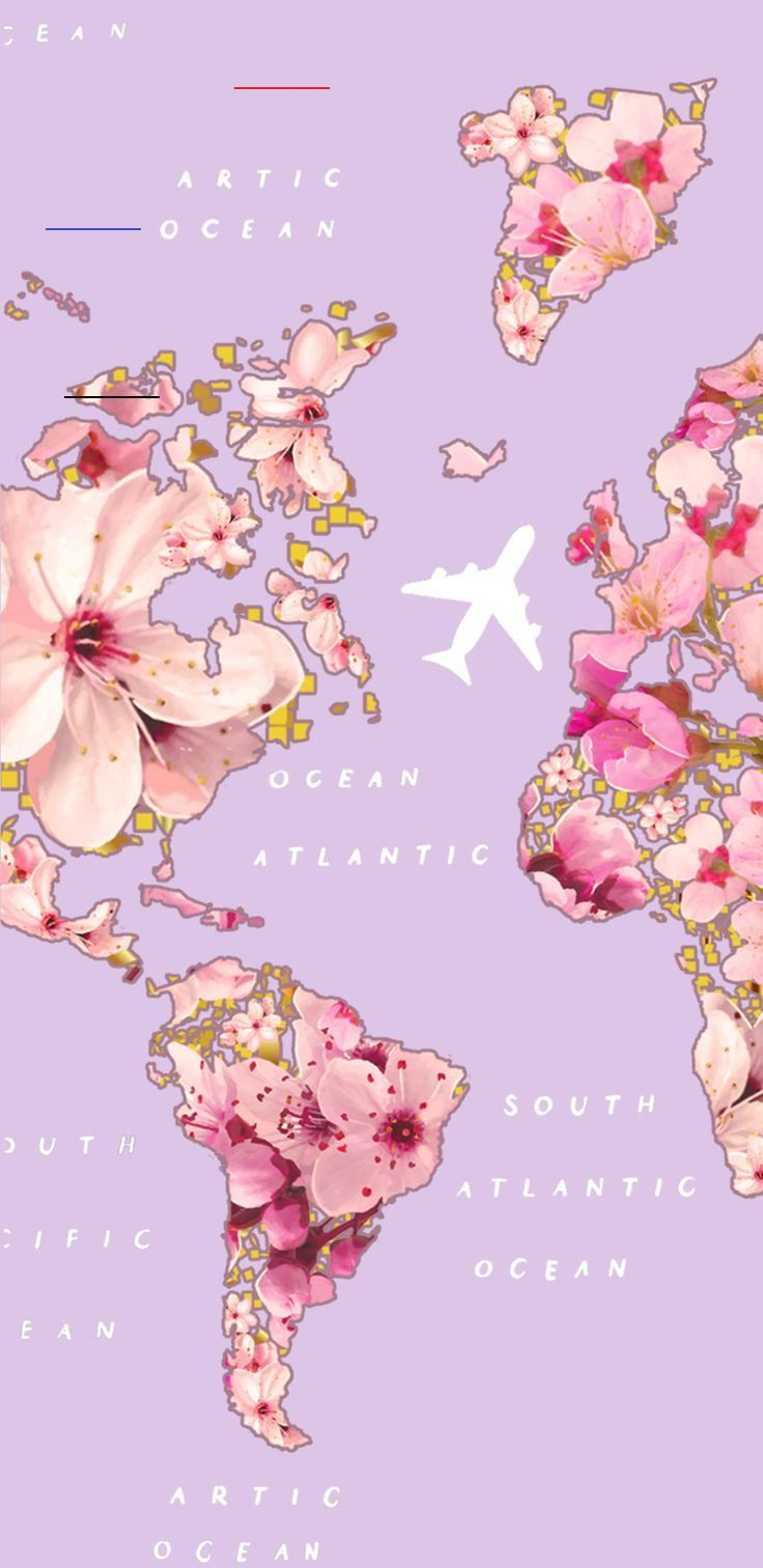 Pink floral travel #gocase #lovegocase #wallpaper #lockscreenwallpaper #phonebackgrounds #iphonebackground #screensavers #travelling #worldmap #flowers #worlddestinations<br>