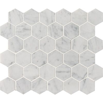White Carrara C Polished Hexagon Marble Mosaics 10 3 8x12 Marble Systems Inc Marble Mosaic Mosaic Stone Mosaic Tiles
