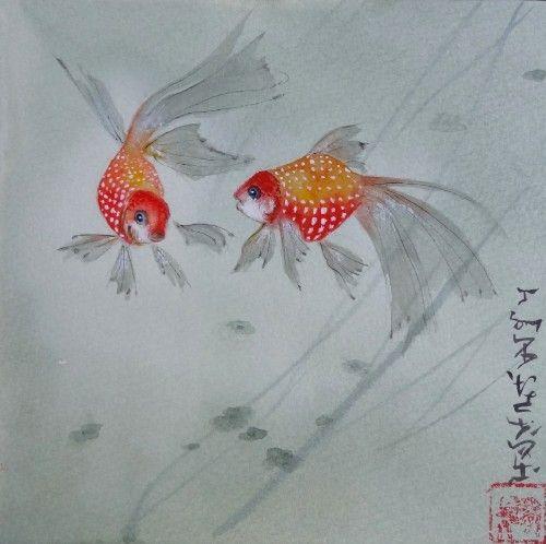 Aquarelle abby poissons rouges peinture chinoise animaux for Poisson rouge japonais