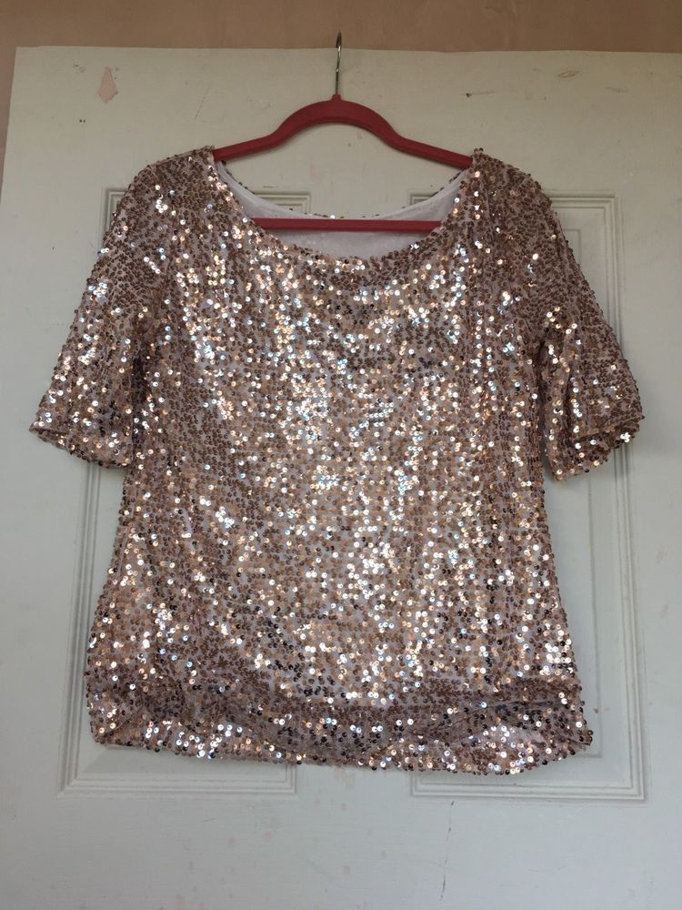 966cec52c3c5c1 LADIES GOLD SEQUIN TOP ROUND NECK SHORT SLEEVES SIZE 12 #fashion #clothing  #shoes #accessories #womensclothing #tops (ebay link)