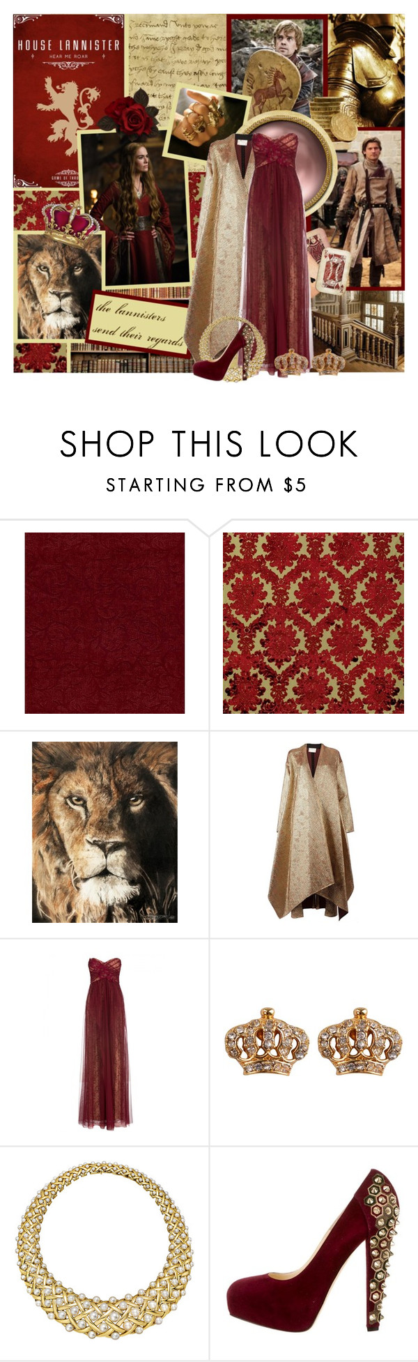 """""""House Lannister -- GOT Battle Round 01"""" by evil-laugh ❤ liked on Polyvore featuring Wolsey, Maison Rabih Kayrouz, Notte by Marchesa, Juicy Couture, Chanel and Brian Atwood"""