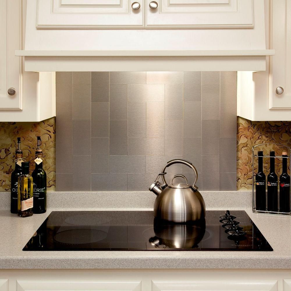 Aspect Long Grain 3 In X 6 Metal Decorative Tile Backsplash Brushed