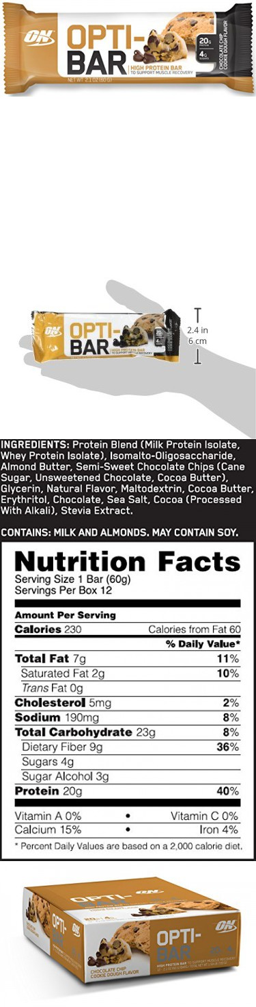 Optimum Nutrition Opti Bar Protein Bar Chocolate Chip Cookie Dough 12 Count Chocolate Chip Cookie Dough Protein Bars Bar Ingredients
