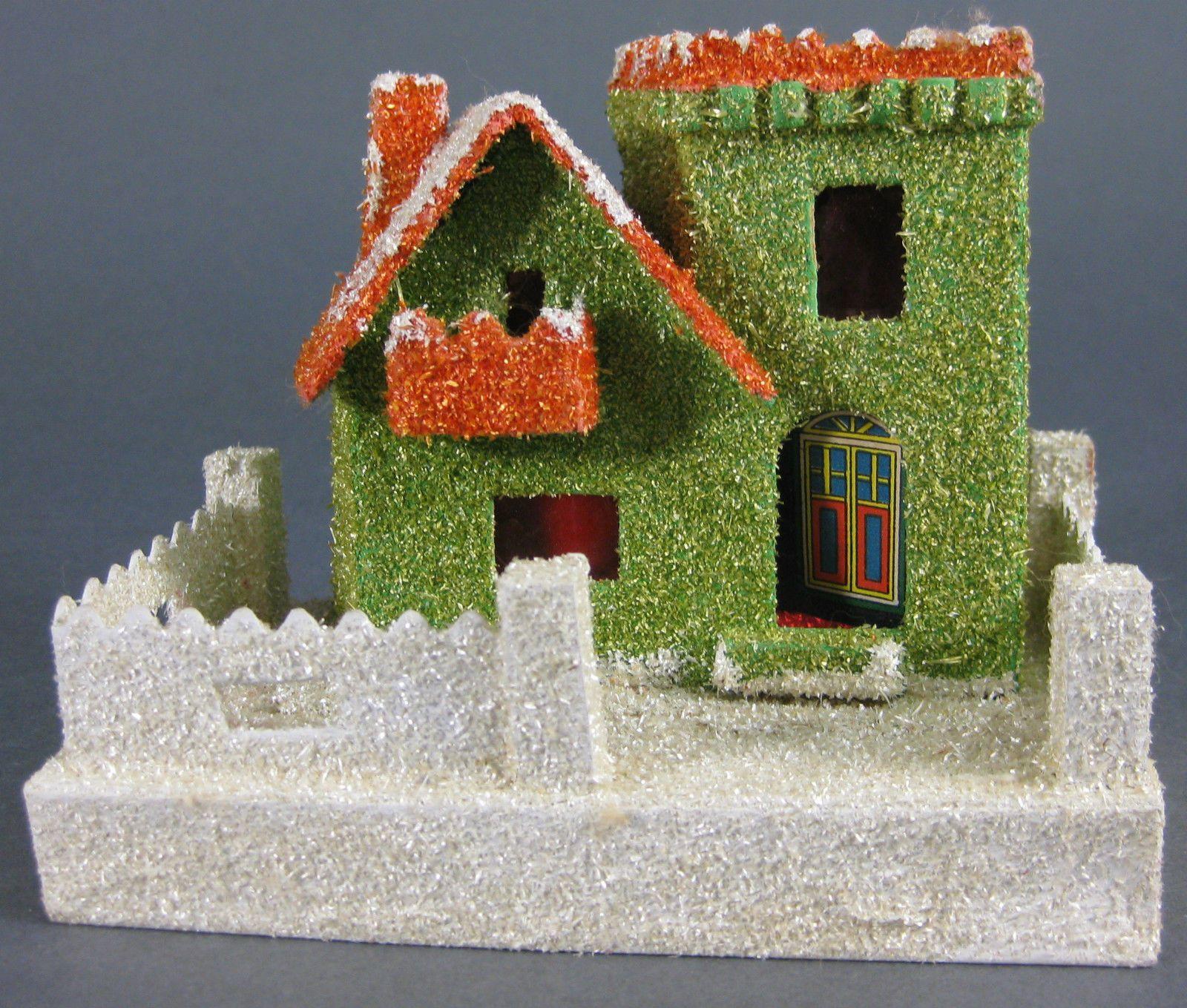 Vintage 1950 S Japan Putz Christmas Paper Cardboard Mica Village House Lighted Christmas Paper Village Houses Putz