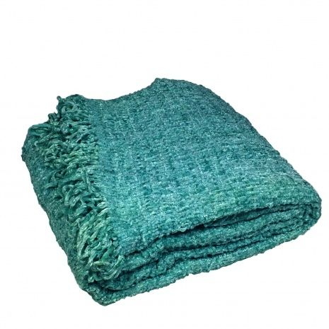 Turquoise Chenille Sofa Throw Blanket