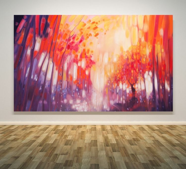 A 30 X 48 X 1 5 Inches Large Original Oil Painting On Canvas This Panoramic Landscape Painting Is A Painting Original Oil Painting Abstract Landscape Painting
