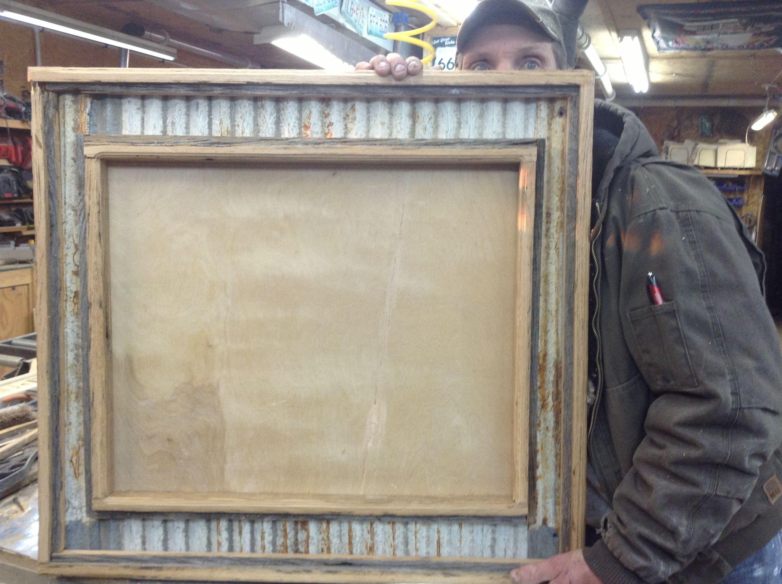 Custom made Rustic barn board and corrugated metal mirror frame ...