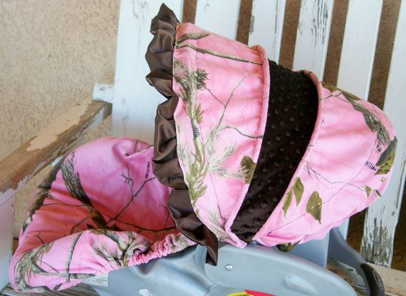 infant car seat cover and hood cover Realtree camo and hot pink minky