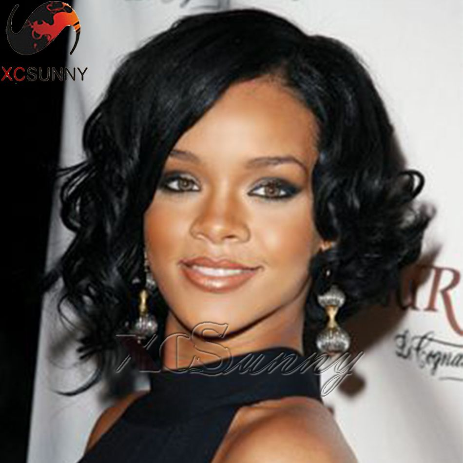Find More Human Wigs Information about Rihanna loose curl short human hair bob wig human hair full lace short bob wigs for black women short lace front wigs human hair,High Quality lace wig deep wave,China wigs for sale cheap Suppliers, Cheap lace wig curly from xcsunny wigs on Aliexpress.com