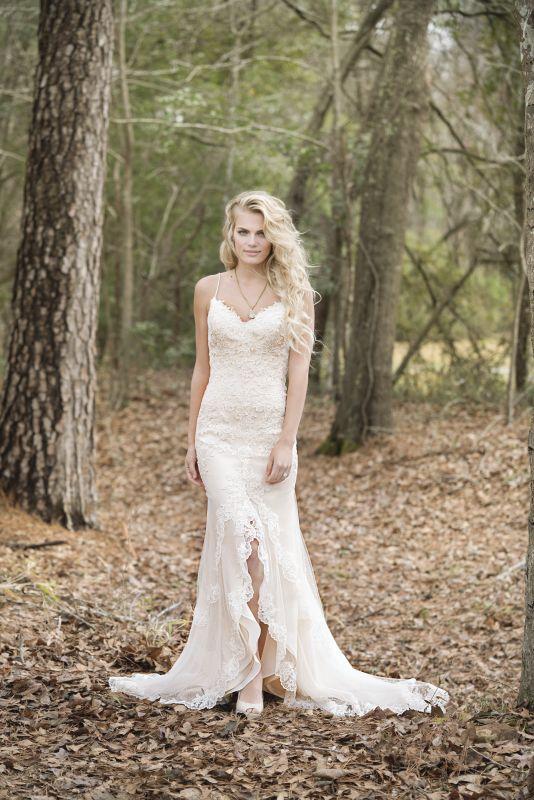 Florence #bridal #bride #splitfront #spagettistraps #lace ...