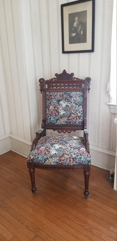 Eastlake Upholstered Chair Antique Wooden Bedroom Chair Not Etsy In 2020 Upholstered Chairs Wooden Bedroom Chair Eastlake Furniture