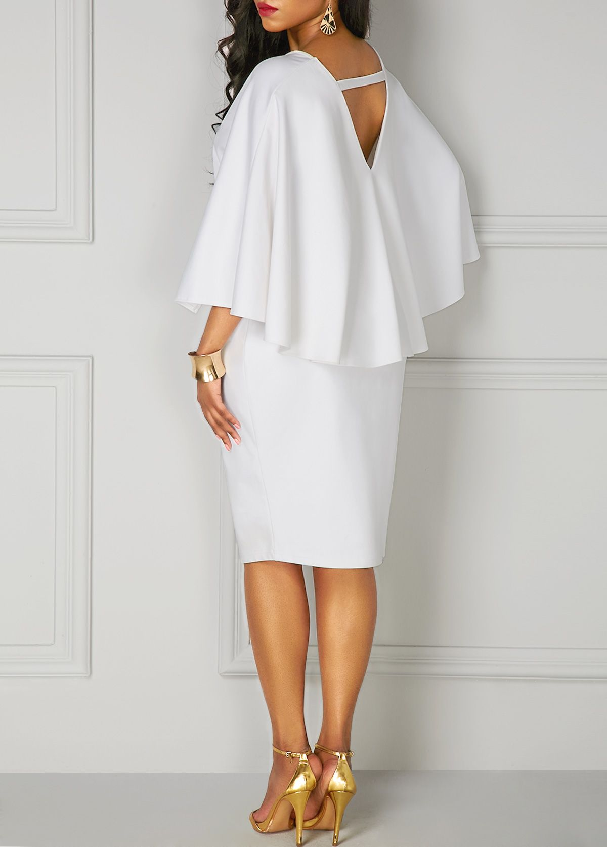 White Batwing Sleeve V Neck Pencil Dress On Sale Only Us