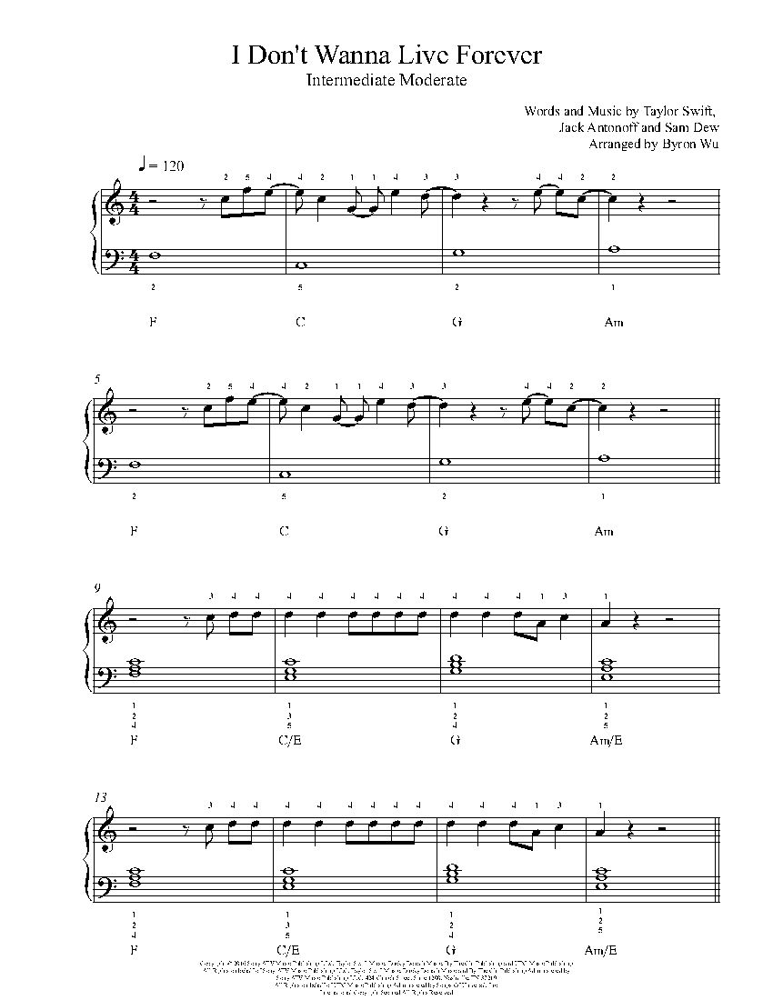I dont wanna live forever by zayn taylor swift piano sheet music i dont wanna live forever by zayn taylor swift piano sheet music hexwebz Choice Image