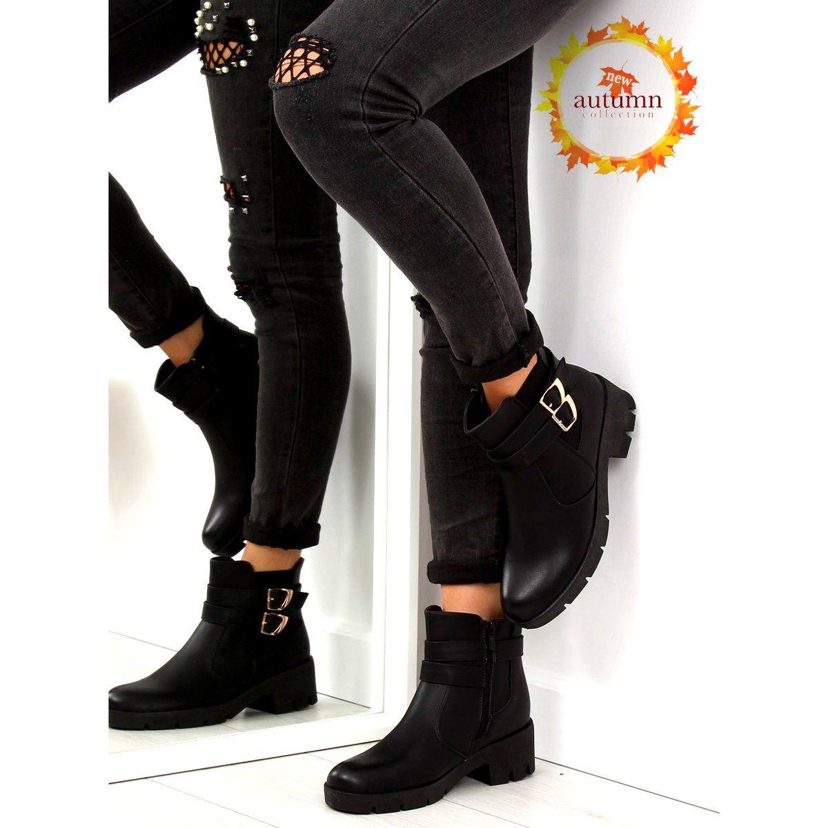 Botki Na Grubej Podeszwie Czarne Hy 54 Black Fashion Biker Boot Shoes