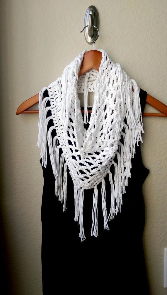 Light Crochet Fringe Scarf Summer - pattern available at http ...