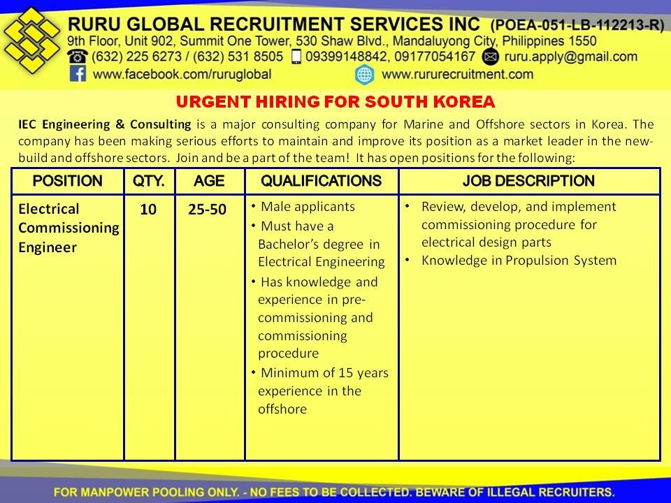 Urgent Hiring for South Korea: Electrical Commissioning Engineers  Electrical Commissioning Engineers  Male applicants only Applicants must have a Bachelor's Degree in Electrical Engineering Has knowledge and experience in pre-commissioning and commissioning procedure Minimum of 15 years experience in offshore