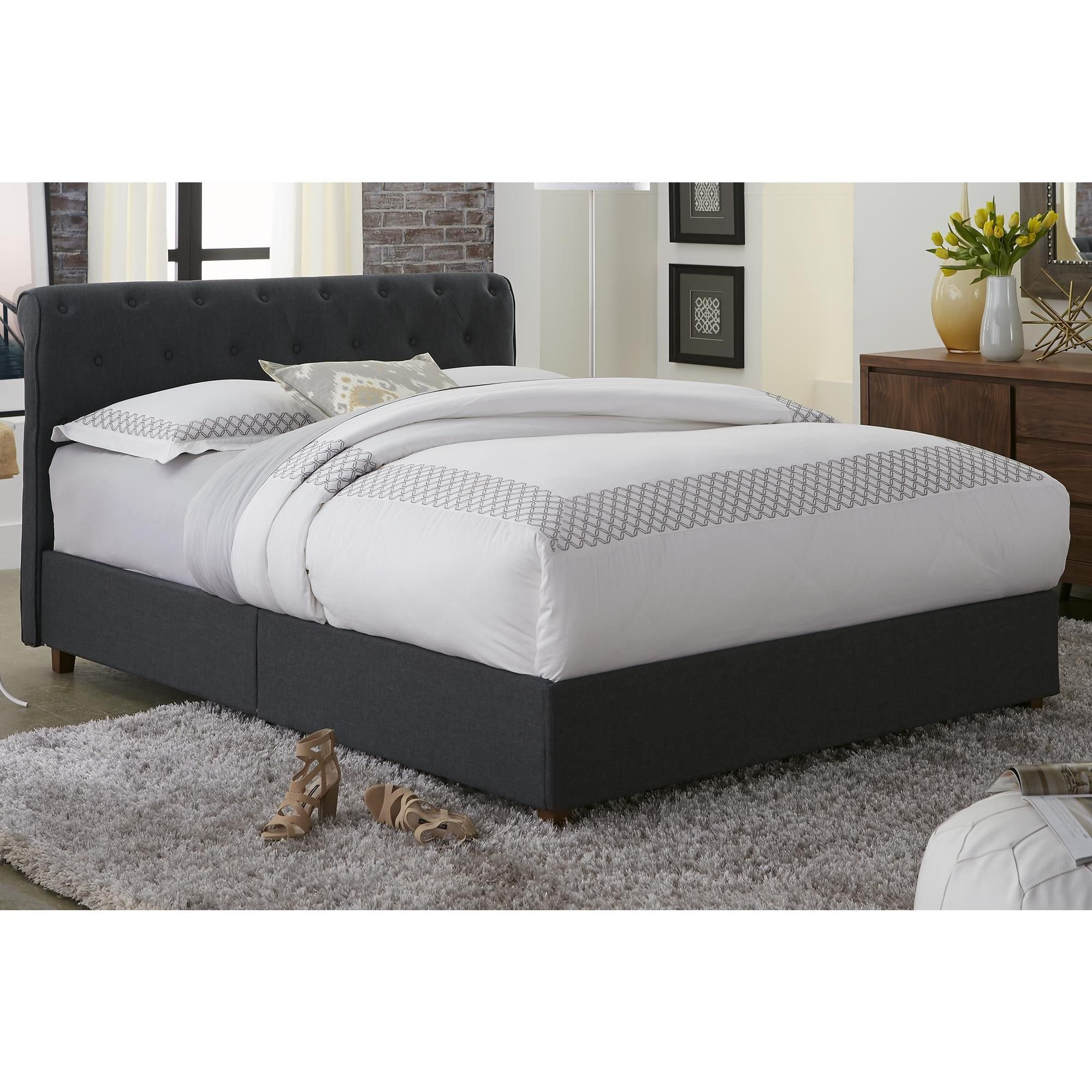dhp carmela grey linen upholstered queen bed by dhp wood homes