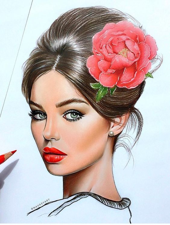 """A wonderful illustration by Natalia Vasilyeva. - Woman with a flower in her hair. Board """"Art-Flowers in Your Hair"""". -"""
