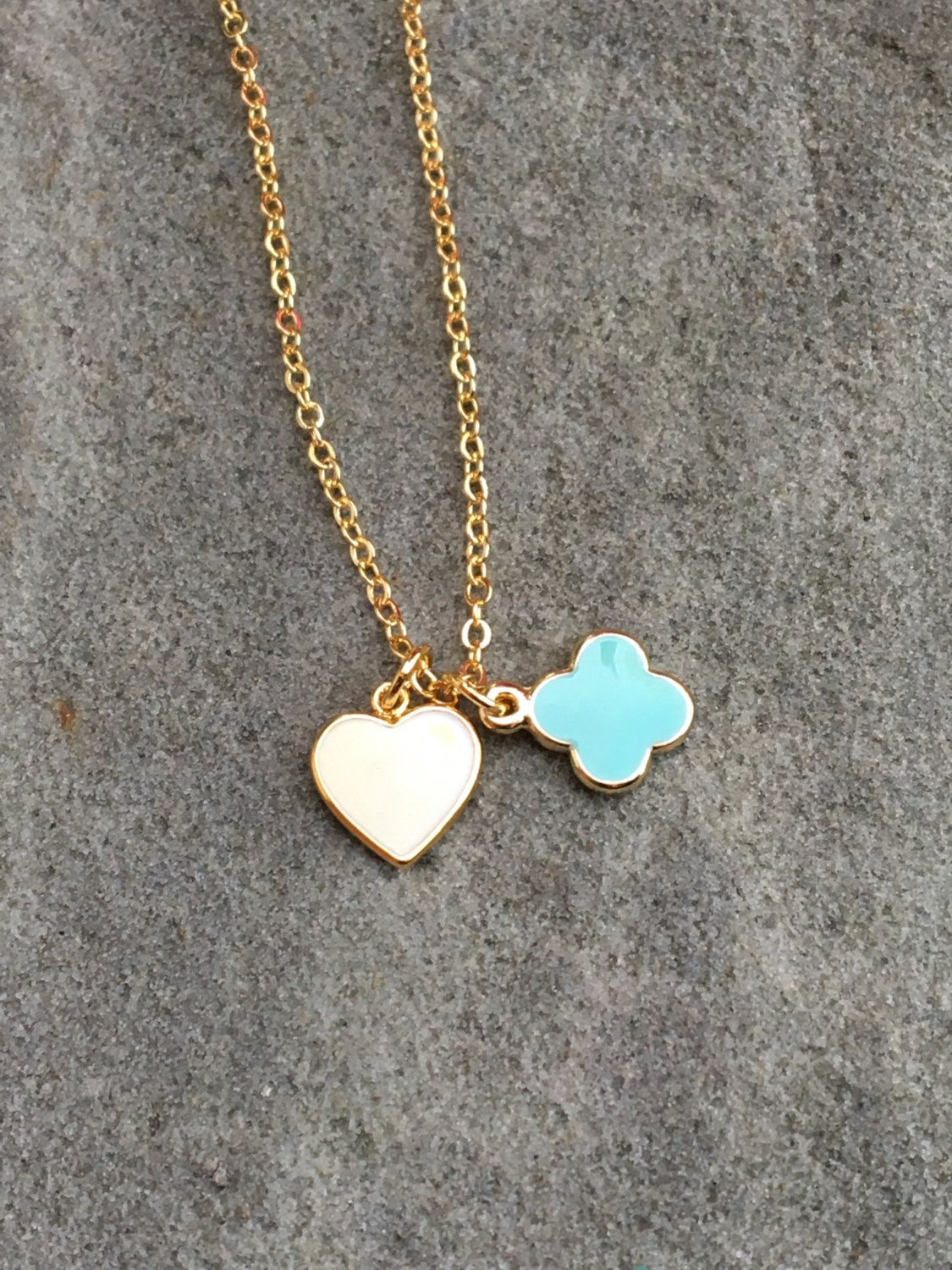 Heart and Clover Epoxy Charm necklace; Gold necklace, mini clover and heart enamel pendants; bridesmaid gift, gift for her, best friend gift by EllaHarrisonStore on Etsy