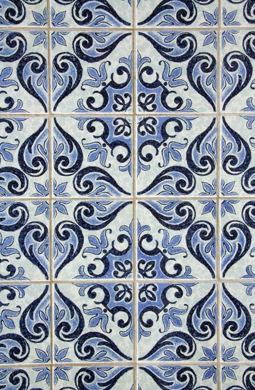 Blue Patterned Tile Wallpaper Looks A