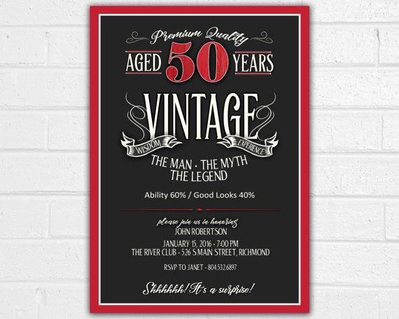 50th Birthday Invitation for Men - JPEG printable - Aged ...