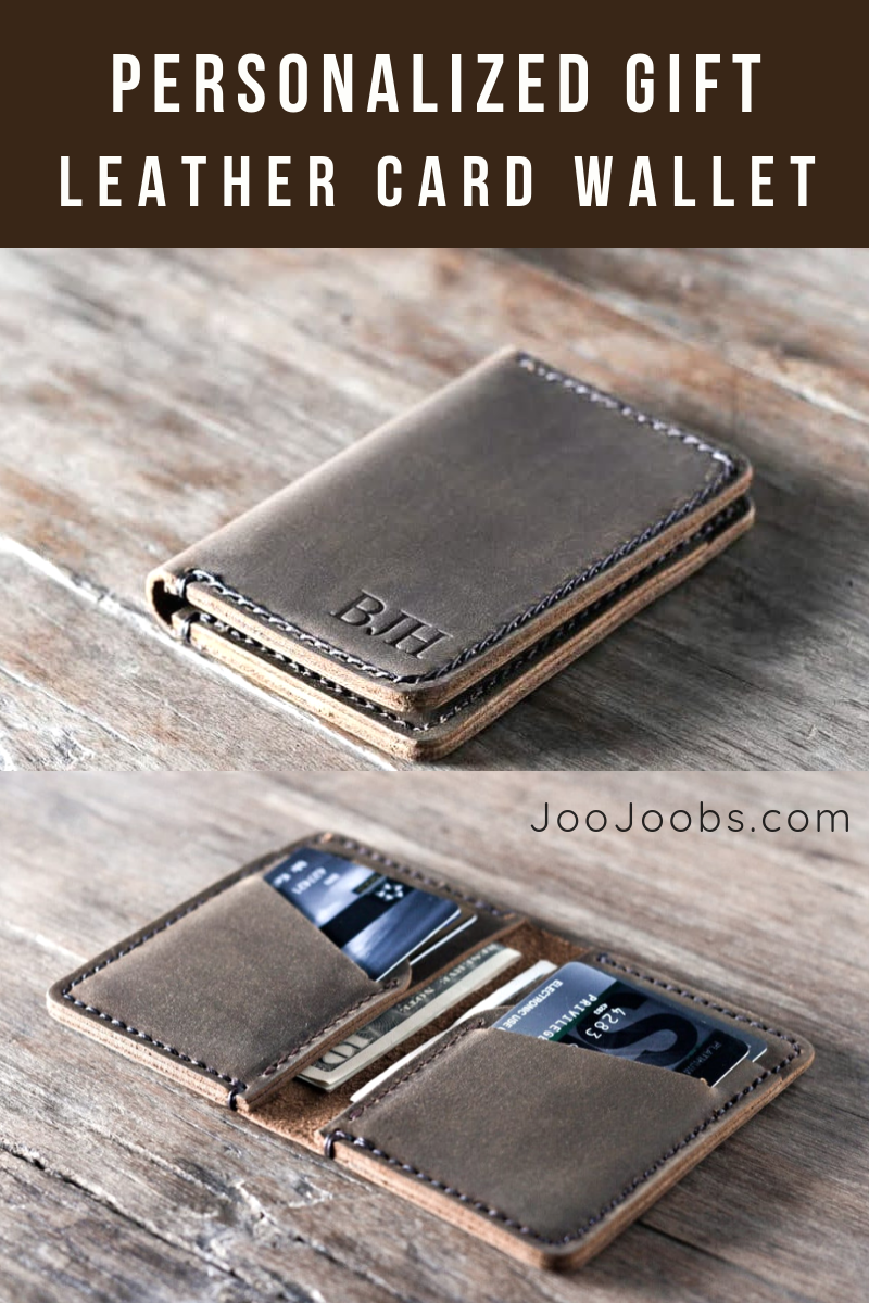 Credit Card Holder Case Minimalist Leather Wallet Light Brown Leather Wallet Custom Bifold Wallet Personalized Gift For Him or Her