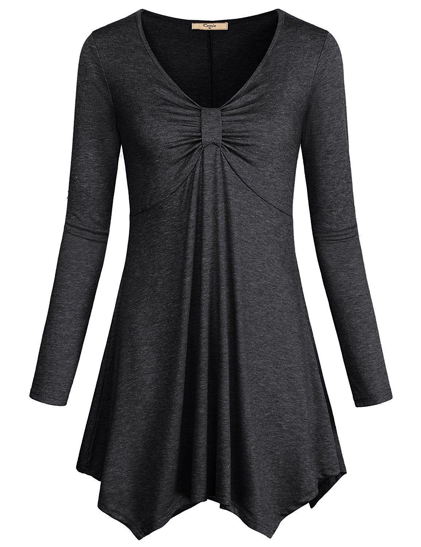 Cestyle Women's Long Sleeve V Neck Twist Knot Front Irregular Hem Tunic Tops