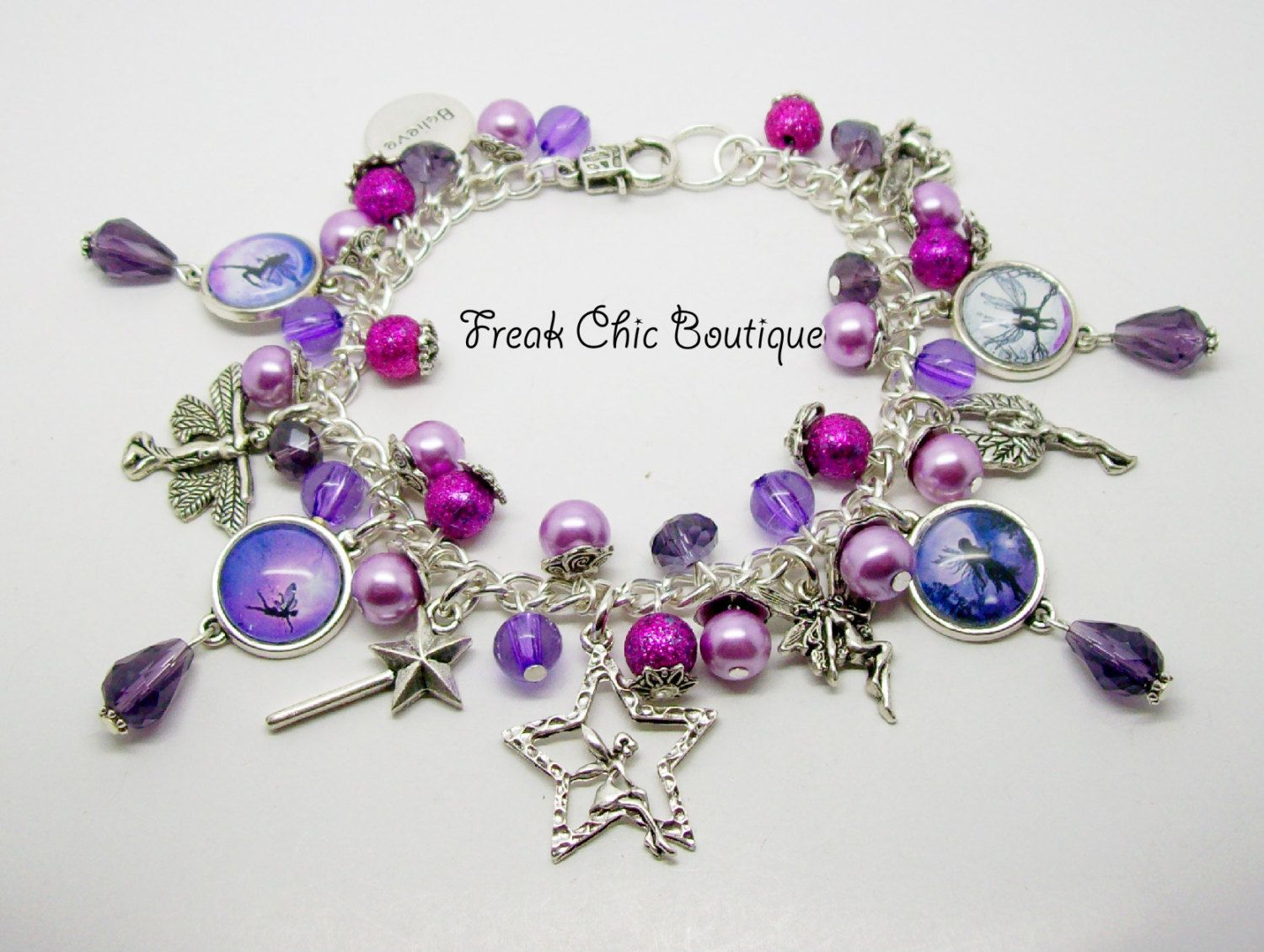 Fairy Charm Bracelet Purple Theme Fairy Jewelry Unique Gift Gift For Her Fairies Fay Fae Faery Faerie