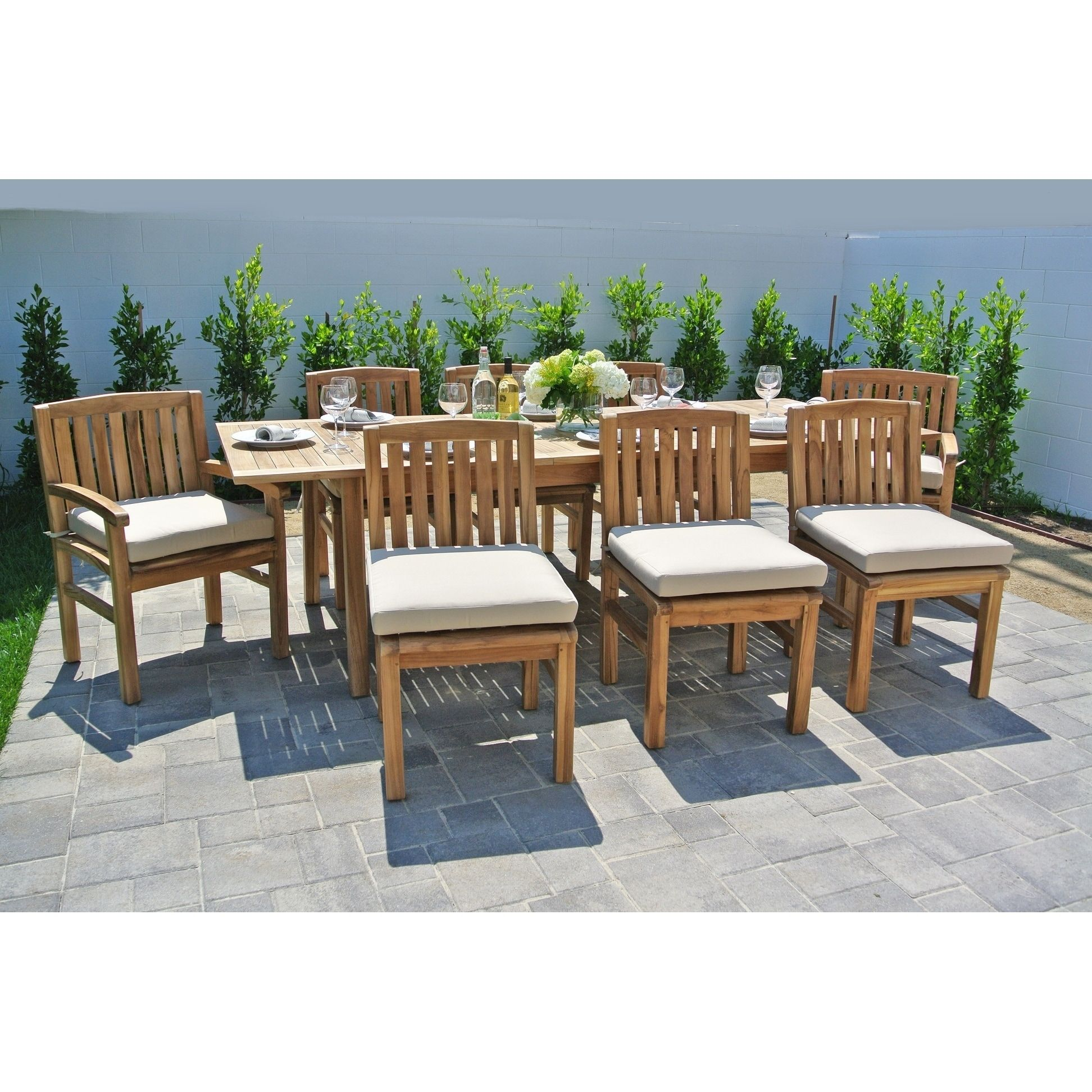 9 Pc Huntington Teak Outdoor Patio Furniture Dining Set With Expansion Table.  Sunbrella Cushion. (Alpine White), Size 9 Piece Sets
