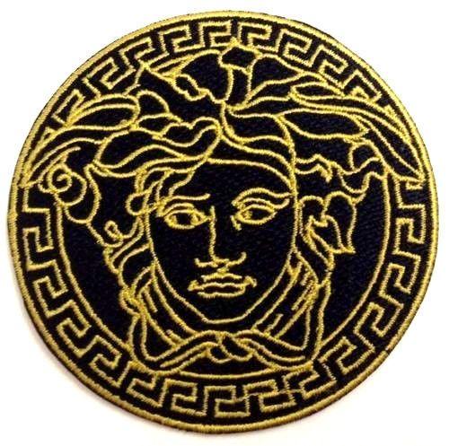 Black Vintage Medusa Logo Iron On Patch 3 Sew Embroidered Logo Fashion Designer Iron On Embroidered Patches Patches For Sale Sew On Patches