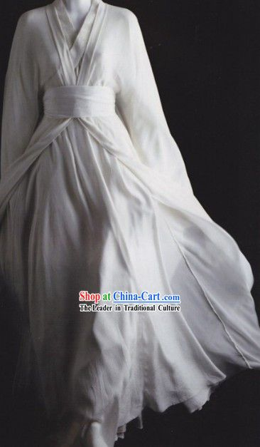 Traditional Ancient China White Hanfu Clothing for Men or Women Pasadena