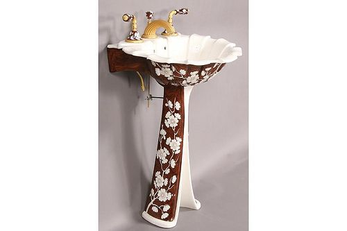 Merveilleux Bath · Sherle Wagner Hand Painted Pedestal Sink
