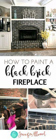 How to make a Painted Black Brick Fireplace Jennifer Allwood | Fireplace Makeover | DIY Fireplace Ideas #basementremodelideas #whitebrickfireplace How to make a Painted Black Brick Fireplace Jennifer Allwood | Fireplace Makeover | DIY Fireplace Ideas #basementremodelideas #whitebrickfireplace
