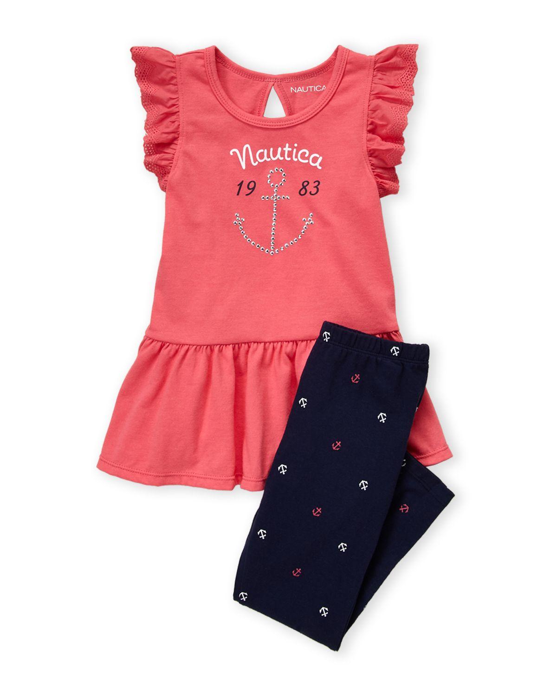 69a782e422247 Nautica (Toddler Girls) Two-Piece Pink Tee & Anchor Print Leggings Set