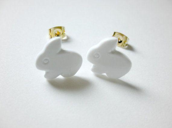 White Bunny Easter Earrings