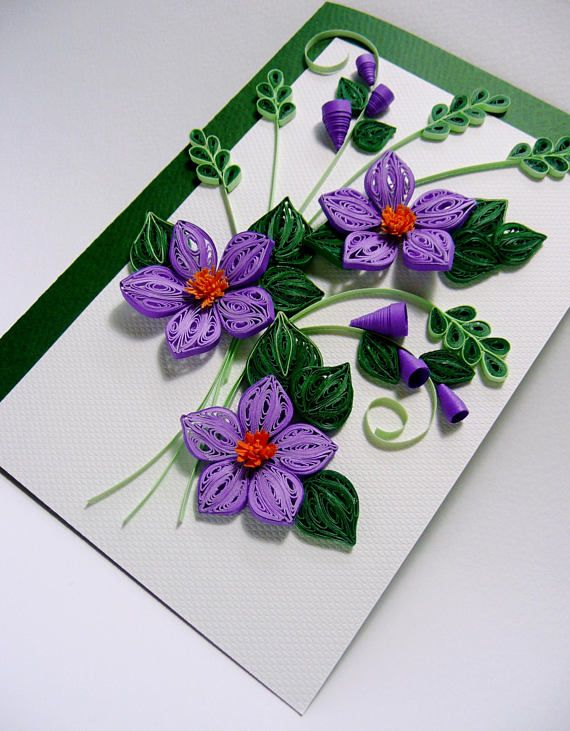 Purple clematis quilling card mothers day cardhappy birthday card purple clematis quilling card mothers day cardhappy birthday card greeting card handmade quilling card all occasions greeting card dyi pinterest m4hsunfo