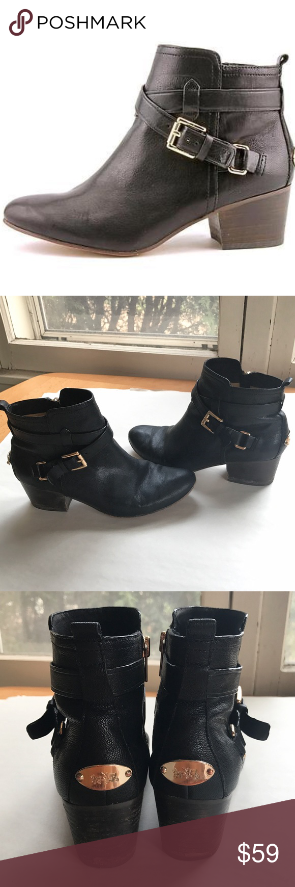 Coach Pauline booties 🕶💍 Sexy and chic black ankle booties from Coach. Used-in great condition! Size 8.5. Coach Shoes Ankle Boots & Booties